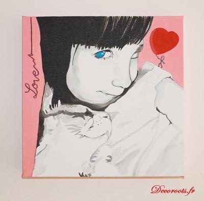tableau art design pop enfant chat coeur love