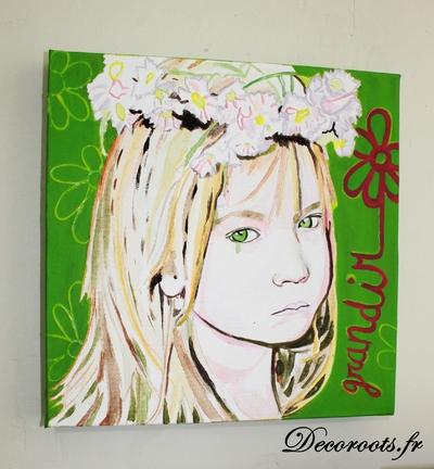 tableau art artiste contemporain fleur enfant street art