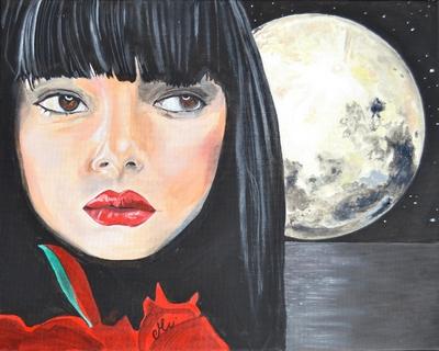 tableau art artiste femme lune noir rouge mer nuit