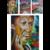 tableau triptyque art contemporain multicolore artiste femme
