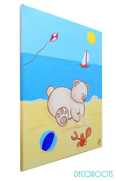 Tableau enfant b b ours la plage decoroots - Tableau chambre bebe garcon ...