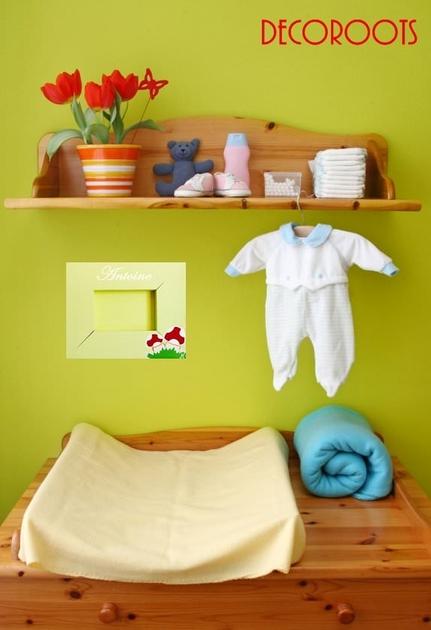 Cadre photo th me for t champignon personnalisable enfant b b objet d coratif enfant b b - Chambre bebe beige et rouge ...