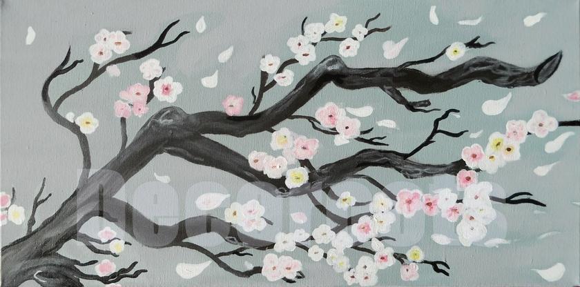 Tableau Cerisier En Fleurs Peint à La Main