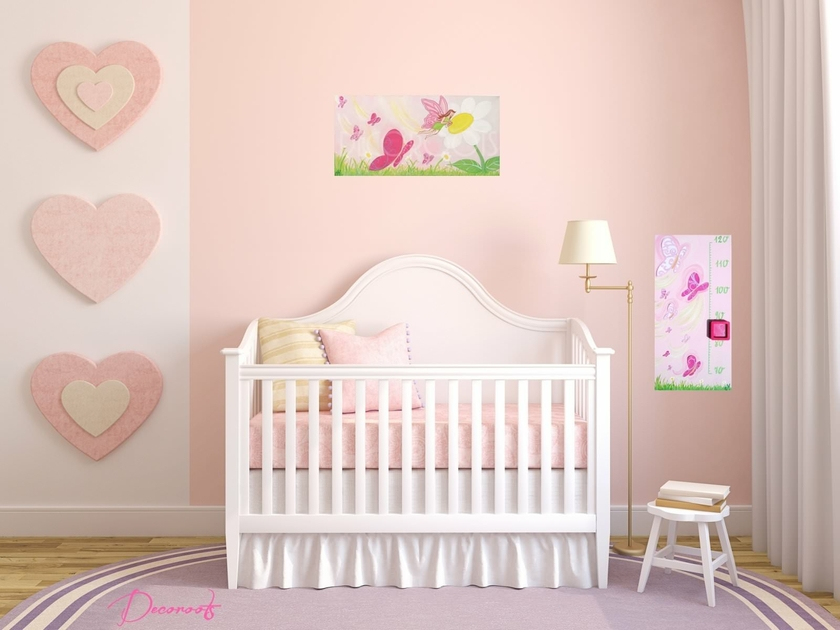 toise enfant b b fille envol de papillons rose enfant b b objet d coratif enfant b b. Black Bedroom Furniture Sets. Home Design Ideas