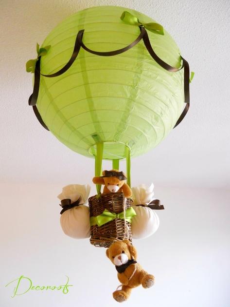 Lampe montgolfi re enfant b b ours vert et marron - Vert anis marron ...