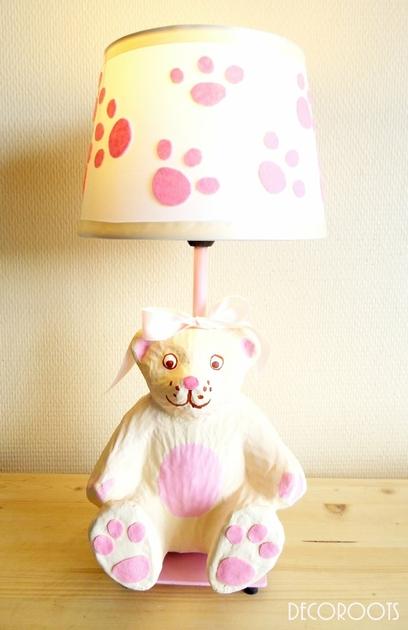 lampe de chevet enfant b b oursonne rose et beige. Black Bedroom Furniture Sets. Home Design Ideas