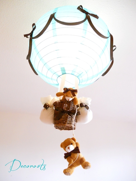 Lampe montgolfi re enfant b b cr ation artisanale for Lustre chambre bebe garcon