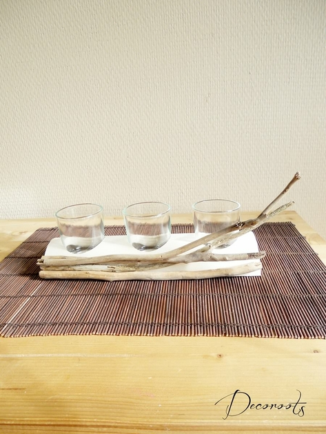 bougeoir nature zen ethnique en bois flott ethnique. Black Bedroom Furniture Sets. Home Design Ideas