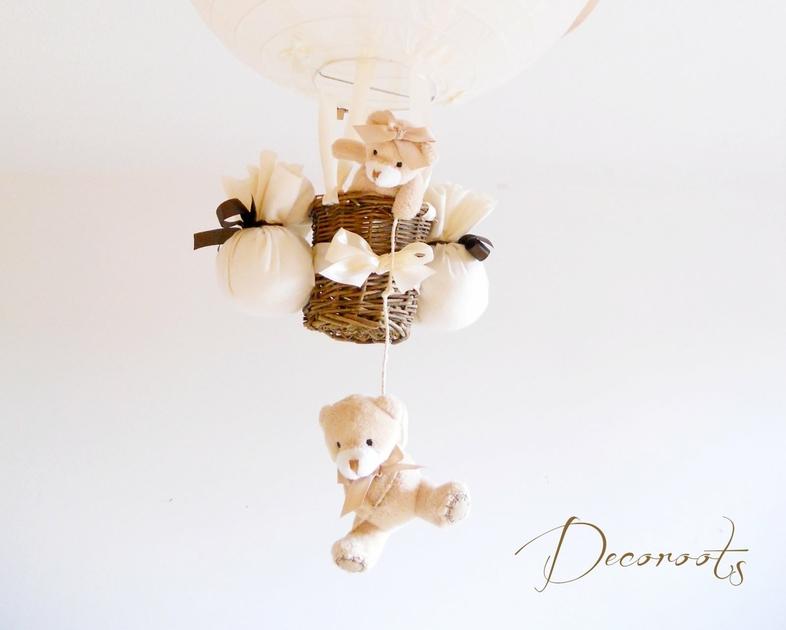 lampe montgolfi re enfant b b beige chocolat cr ation artisanale. Black Bedroom Furniture Sets. Home Design Ideas