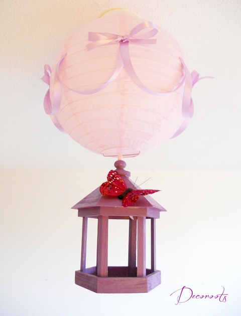 Lampe suspension cage envol de papillons enfant b b - Deco chambre bebe fille papillon ...