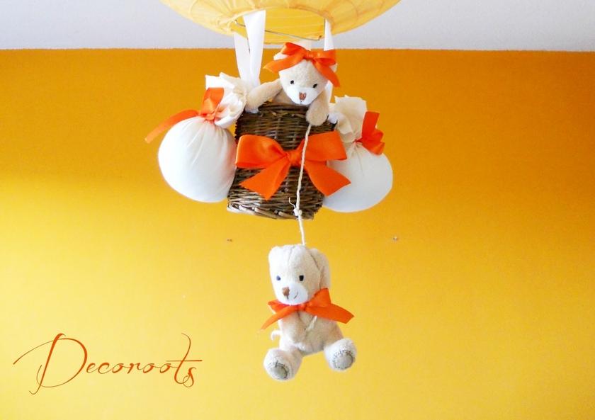 ... Lampe Montgolfière Enfant Bébé Ours Et Oursonne Peluche Orange Beige  Blanc Luminaire Lustre Suspension Abat