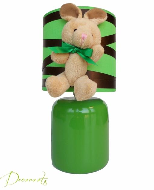 lampe de chevet enfant b b lapin esth ban le lapin en peluche vert et marron chocolat enfant. Black Bedroom Furniture Sets. Home Design Ideas