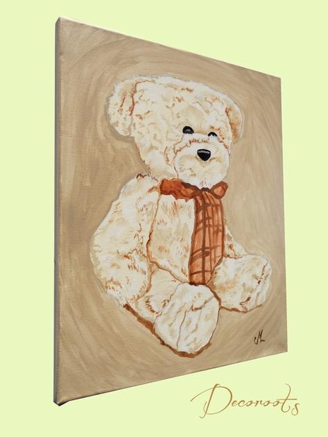 Chambre Bébé Beige Taupe : Tableau enfant bébé valentin l ours en peluche collection