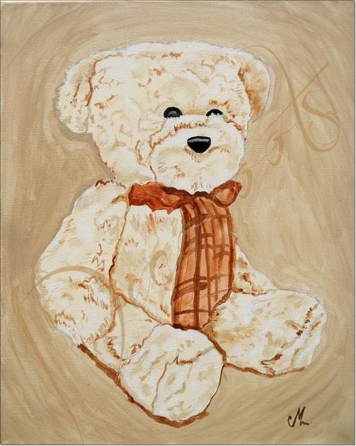 Tableau enfant b b valentin l 39 ours en peluche collection jouets d 39 an - Tableau decoration enfant ...