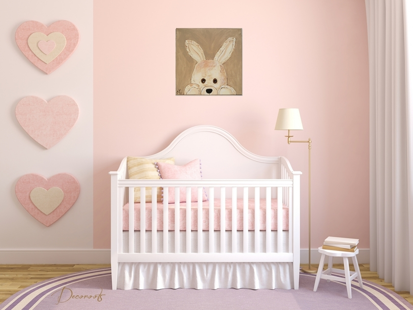 tableau enfant b b esth ban le lapin en peluche. Black Bedroom Furniture Sets. Home Design Ideas
