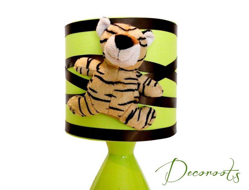Lampe De Chevet Tigre Theme Jungle Vert Et Marron Chocolat Enfant
