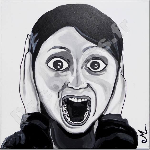 Tableau déco triptyque design femme noir et blanc