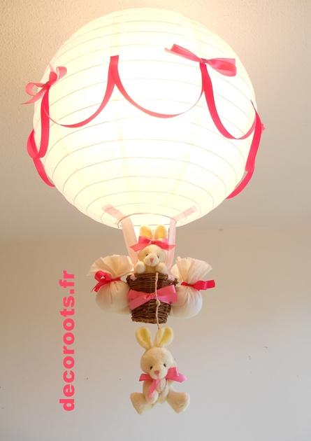 lampe montgolfi re enfant b b lapin rose et beige parme. Black Bedroom Furniture Sets. Home Design Ideas