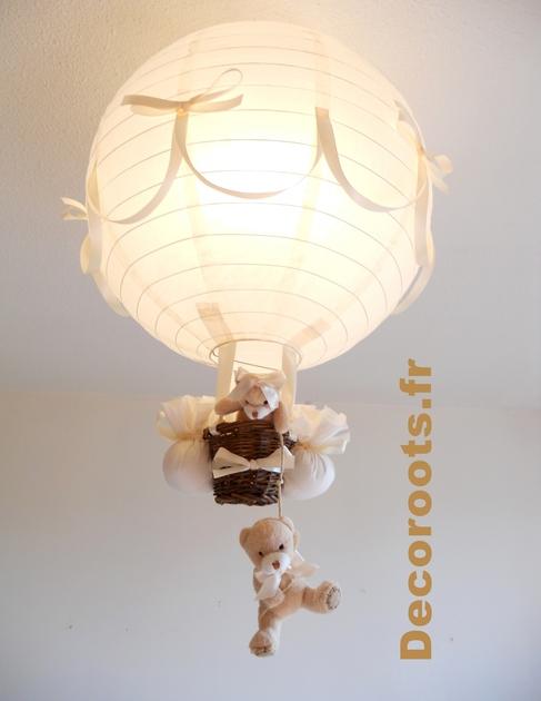 lampe montgolfi re enfant b b our et oursonne beige. Black Bedroom Furniture Sets. Home Design Ideas