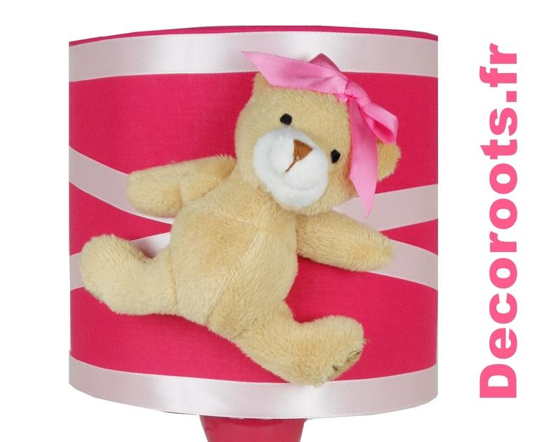 Lampe de chevet fille oursonne rose pastel et fuchsia - Lampe de chevet fille ...
