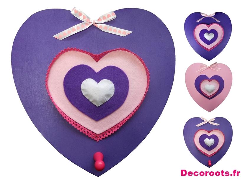 D coration murale triptyque porte manteau coeur rose et for Objet deco violet