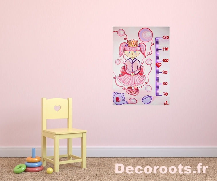 Toise enfant b b fille petite poup e lilou beige et rose for Toise chambre bebe