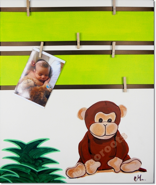 Tableau d co p le m le th me jungle didou le petit singe for Pele mele chambre garcon