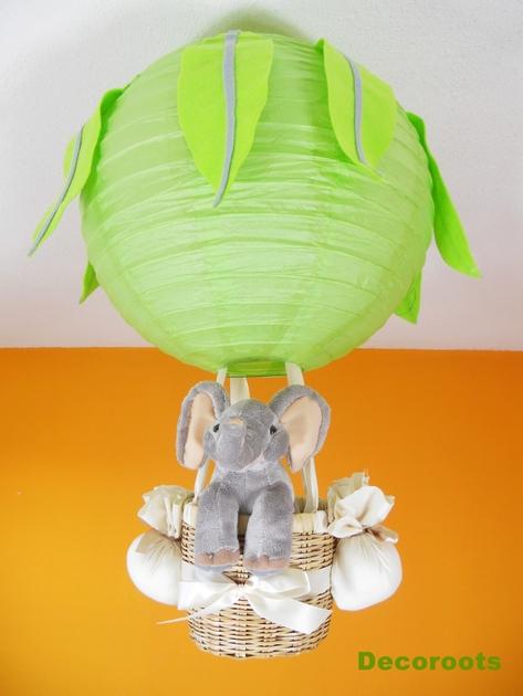 Lampe montgolfi re jungle l phant cr ation artisanale - Decoration chambre bebe theme jungle ...