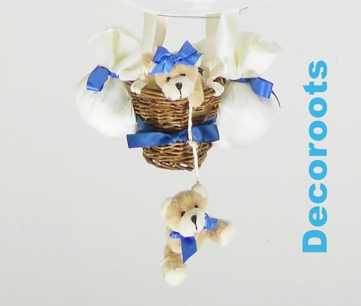 lampe montgolfi re enfant b b ours et oursonne bleu roi. Black Bedroom Furniture Sets. Home Design Ideas
