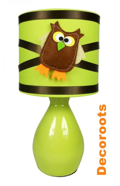 Lampe de chevet hibou vert anis et marron chocolat - Lampe de chevet garcon ...