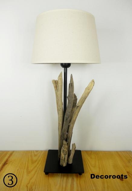 Lampe en bois flott d coration ethnique nature et zen for Lampe bord de mer