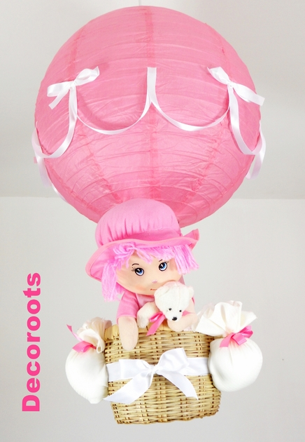 lampe montgolfi re enfant b b rose et beige fille poup e. Black Bedroom Furniture Sets. Home Design Ideas
