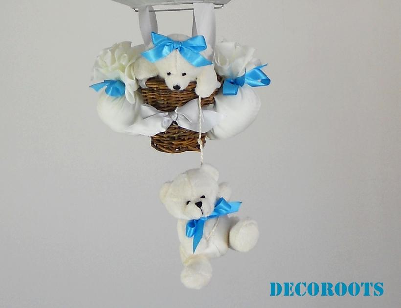lampe montgolfi re enfant b b ours gris et bleu enfant b b luminaire enfant b b decoroots. Black Bedroom Furniture Sets. Home Design Ideas