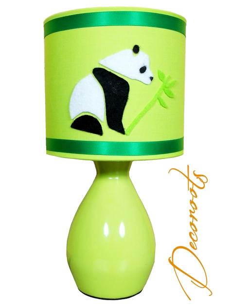 lampe de chevet enfant b b pampy le panda vert enfant b b luminaire enfant b b decoroots. Black Bedroom Furniture Sets. Home Design Ideas