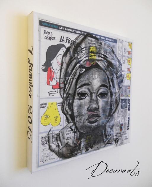 tableau design ethnique roots africa femme africaine art design contemporain tableau art. Black Bedroom Furniture Sets. Home Design Ideas