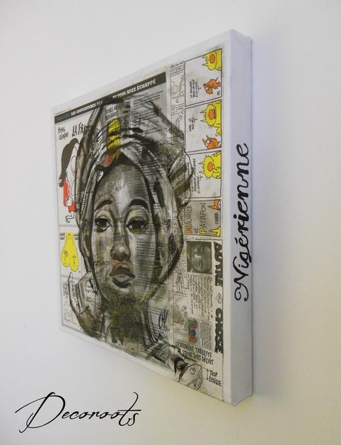 Tableau design ethnique roots africa femme africaine for Tableau portrait noir et blanc
