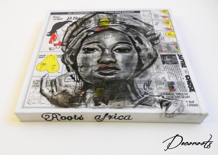 Tableau design ethnique roots africa femme africaine art design contemporain tableau art - Coussin ethnique noir et blanc ...