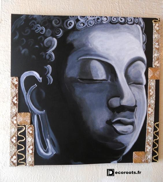 Tableau big bouddha black noir et blanc nature et zen tableau ethnique natu - Tableau ethnique contemporain ...