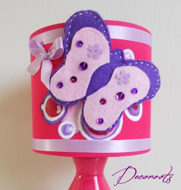Lampe de chevet enfant b b papillon rose cadeaux de - Lampe de chevet violet ...