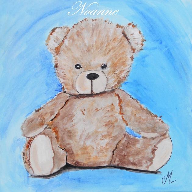 tableau enfant b b thim o l 39 ours en peluche bleu et marron enfant b b tableau enfant b b. Black Bedroom Furniture Sets. Home Design Ideas