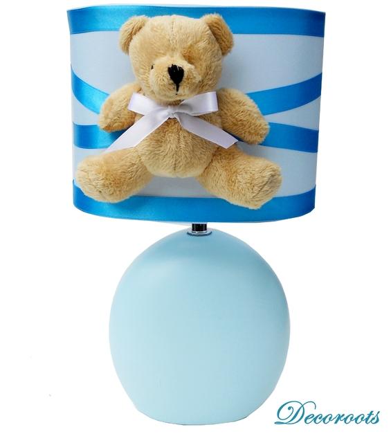 Lampe design ours peluche bleu enfant b b luminaire for Lampe chambre bebe garcon