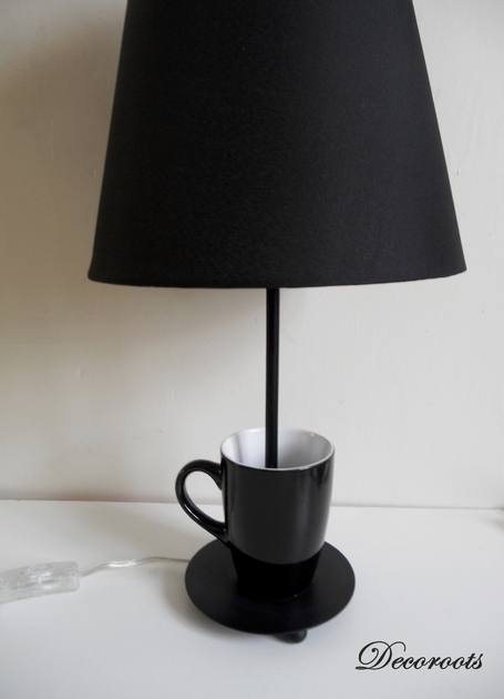 lampe design tasse noir black coffee art design. Black Bedroom Furniture Sets. Home Design Ideas
