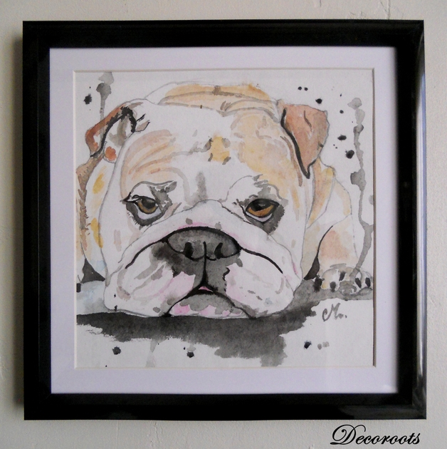 Cadre d co aquarelle bulldog anglais art design for Cadre contemporain