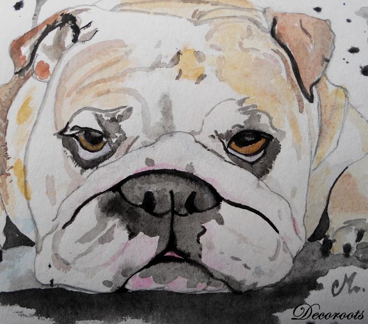 Exceptionnel Cadre déco aquarelle bulldog anglais - Art design contemporain  TL43