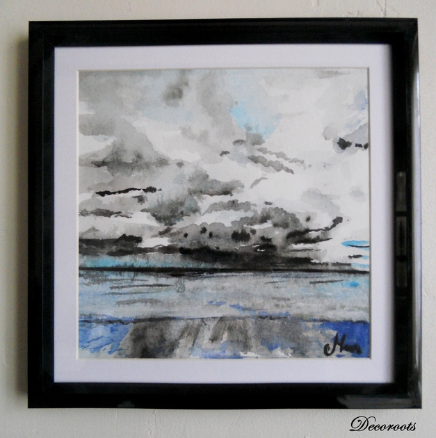 Cadr d co aquarelle mer apr s la pluie art design for Cadre contemporain