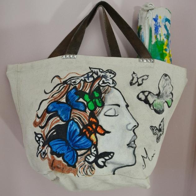 a386118260 ... sac à main coton toile plage couleur beige écru papillon multicolore