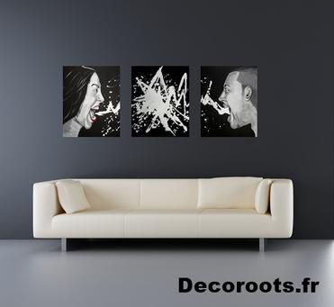 tableau déco design contemporain homme femme tache peinture crie noir et  blanc la colère pêchés capitaux 3c1776f4a0df