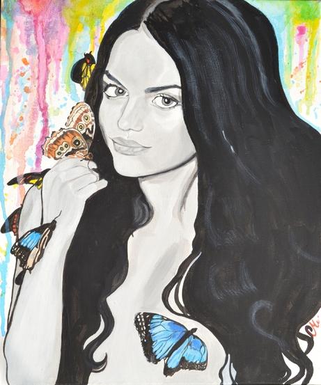tableau design art femme nue papillon apaisant multicolore noir blanc