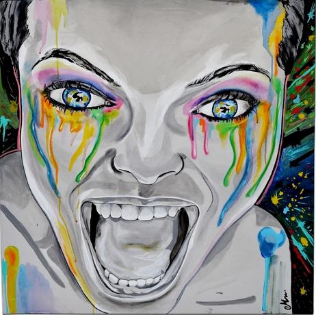 tableau-art-contemporain-urbain-visage-femme-noir-et-blanc-multicolore-peinture-artiste