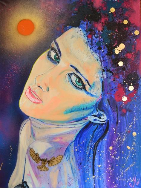 tableau art contemporain femme bleue soleil nuit rose doré